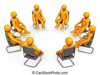 Orange cartoon seats on chairs. White background.