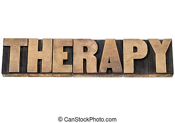 therapy word in wood type