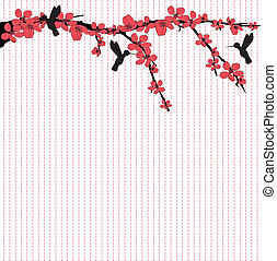 There are hummingbirds flying around cherry blossom