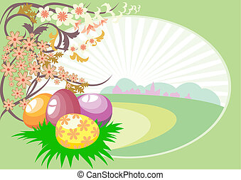 Easter eggs on the background of landscape