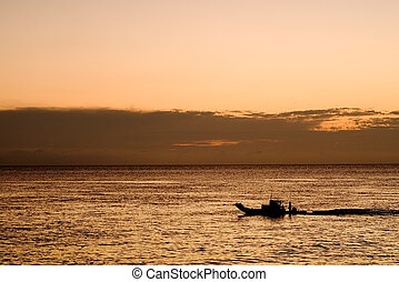 a boat in the ocean