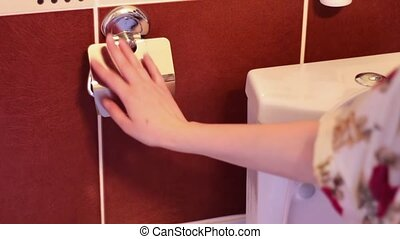 There is no toilet paper - Man reaches for toilet paper, and...