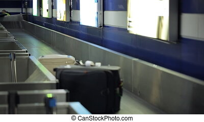 There is the process of baggage belt working, sorting the...