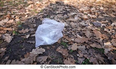 There's a cellophane bag in the grass.