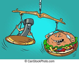 Theres a kettlebell and a burger on the scale. The burger is heavier. Sports against unhealthy food