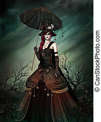 There's No Bad Weather - a strange lady in steampunk dress...
