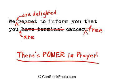 "There's power in prayer, ""cross-out"" healing Card."