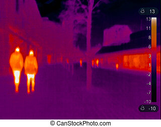 Thermal image of some people
