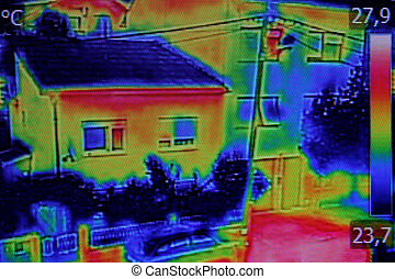 Thermal image on Residential building