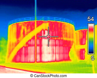Thermal image - Thermogaphic image of a oil tank