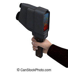 Thermal Imager - 3D digital render of a mans hand holding a...
