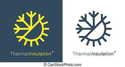 Thermal insulation icon. Temperature symbol. Sun snowflake ...