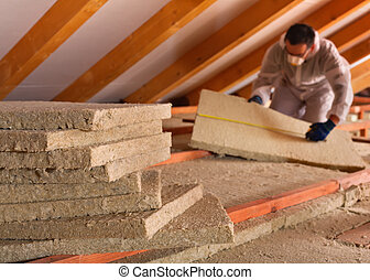Thermal insulation of a building with mineral wool panels