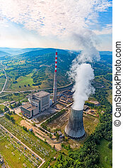 Thermal power plant aerial - Helicopter shoot of the thermal...
