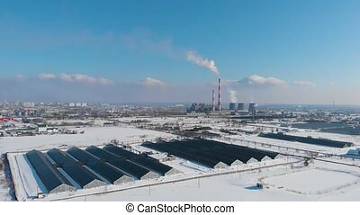 Thermal power plant. Beauty winter sunny day.