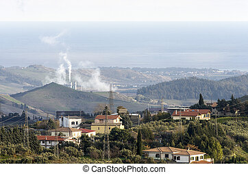 Thermal power plant in the landscape