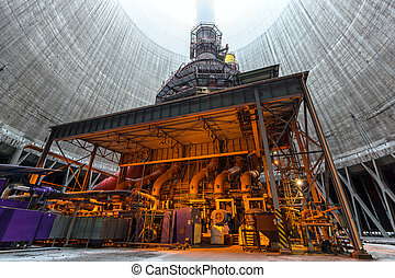 Thermal power plant interior - Thermal power plant with...