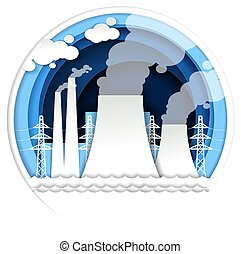Thermal power plant vector illustration in paper art style