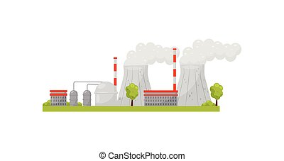 Thermal power plant with industrial buildings and smoking pipes. Electricity production. Alternative energy. Flat vector design