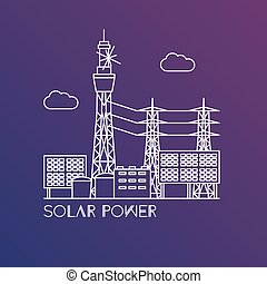 Thermal power station. Colorful illustration in a flat...