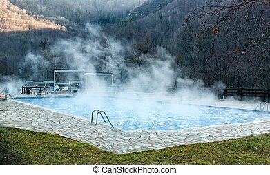 Thermal spring with swimming pool in mountain - Thermal ...
