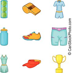 Thermal underwear icons set, cartoon style
