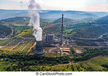 thermique, centrale électrique, aérien