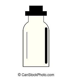 thermo, caricatura, botella, aislado