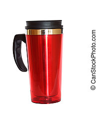 Thermo cup isolated on white, with clipping path