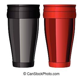 thermo-cup, vector, metal, viaje, brillante