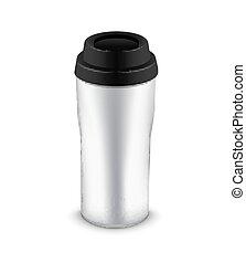 thermo, o, jarra, taza, botella, plástico, vaso, plantilla, ...