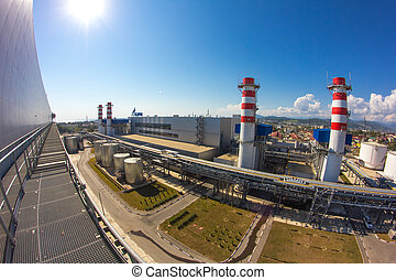 Thermoelectric plant with big chimneys