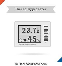 thermomètre, numérique, hygromètre, icône