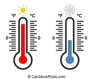 thermomètre, température, bas, élevé