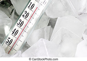 Thermometer and ice - Glass thermometer for measuring of...
