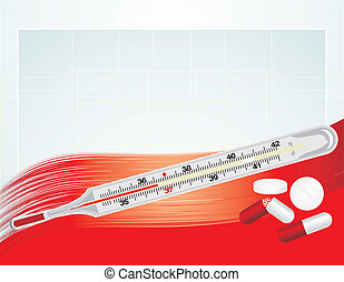Thermometer and pills. Background - Thermometer and pills on...