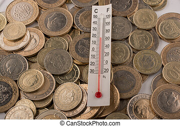 Thermometer and Turkish Lira coins