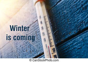 thermometer, auf, der, altes , hölzerne wand, begriff, von,...