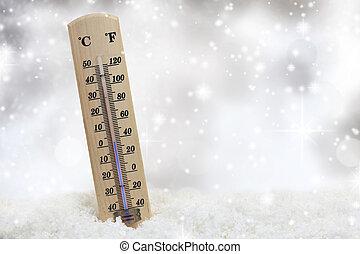 thermometer, auf, schnee, shows, niedrig, temperaturen