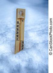 thermometer, auf, schnee