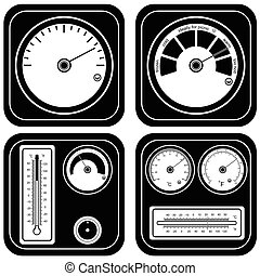 thermometer black illustration set
