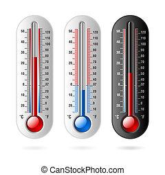 thermometer., centígrado, y, fahrenheit.