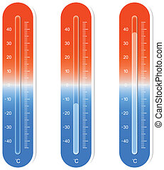 Thermometer - Illustration Of Three Thermometers Showing Hot...