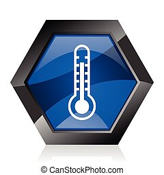 Thermometer dark blue glossy hexagon geometric diamond vector web icon with reflection on white background. Modern design hexagonal internet button.