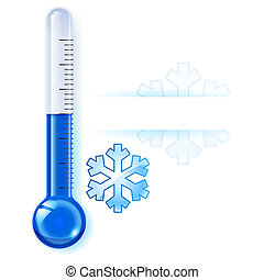 Thermometer by seasons. Winter. Illustration on white