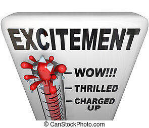 A thermometer with the word Excitement, measuring the growing amount of anticipation for a special day or event
