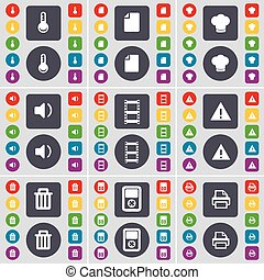 Thermometer, File, Cooking hat, Sound, Negative films, Warning, Trash can, Player, Printer icon symbol. A large set of flat, colored buttons for your design. Vector