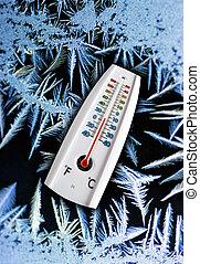 Thermometer freezing - Thermometer indicating freezing...
