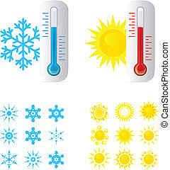 Thermometer Hot And Cold Temperature. Also Sun and snowflakes icons set. Vector iilustration