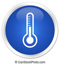 Thermometer icon blue button